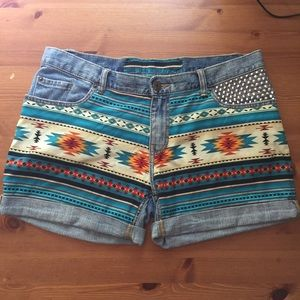 Pants - One of a Kind Ikat Studded Boyfriend Denim Shorts